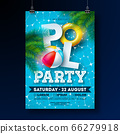 Summer Pool Party Poster Design Template with Palm Leaves, Water Beach Ball and Float on Blue Underwater Ocean Background. Vector Holiday Illustration for Banner, Flyer, Invitation, Poster. 66279918