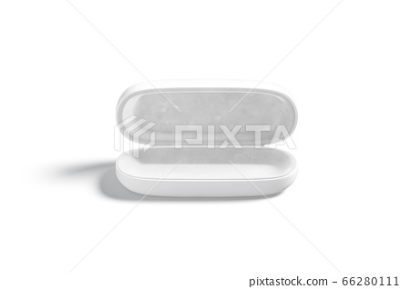 Blank white opened glasses case mock up, front view 66280111