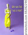 Concept of gender dysphoria and transgenders. Gestalta wearing a yellow dress. 66282296