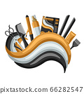 Barbershop banner with professional hairdressing tools. 66282547