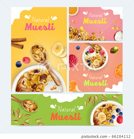 Realistic Muesli Banners Collection 66284112