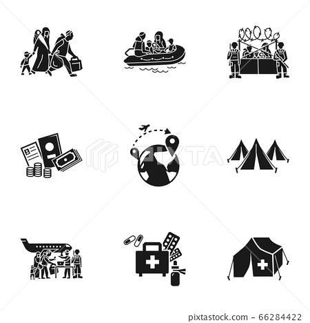 Refugee charity icon set, simple style 66284422