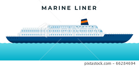 Marine liner, cruise ship making a tourist voyage and carrying passengers vector icon flat isolated. 66284694