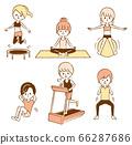 妇女男人饮食运动插图集健身房 66287686