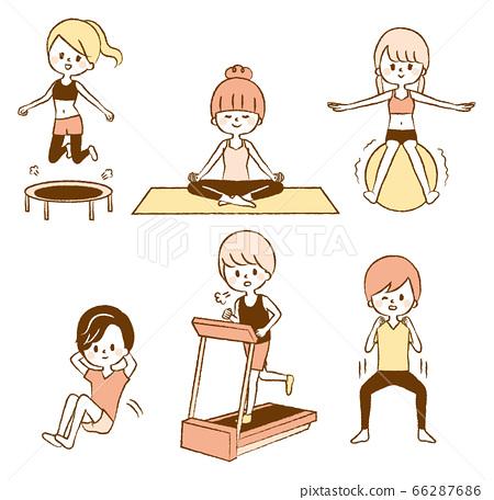 婦女男人飲食運動插圖集健身房 66287686