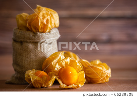 Cape gooseberry in burlap bags. Concept of health care or herb. Closeup and copy space for text. 66289509