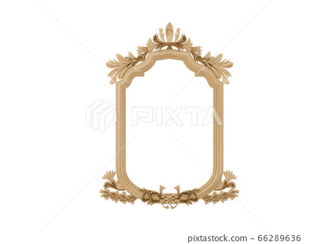 Golden vintage frame. Isolate mirror. Design retro element. physical realistic reflection . 66289636