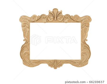 Golden vintage frame. Isolate mirror. Design retro element. physical realistic reflection . 66289637