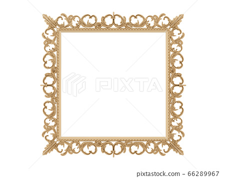 Golden vintage frame. Isolate mirror. Design retro element. physical realistic reflection . 66289967