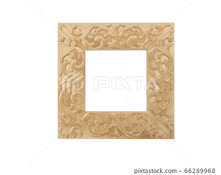 Golden vintage frame. Isolate mirror. Design retro element. physical realistic reflection . 66289968