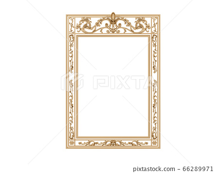 Golden vintage frame. Isolate mirror. Design retro element. physical realistic reflection . 66289971