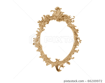 Golden vintage frame. Isolate mirror. Design retro element. physical realistic reflection . 66289972
