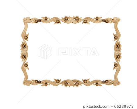 Golden vintage frame. Isolate mirror. Design retro element. physical realistic reflection . 66289975