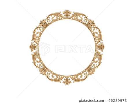 Golden vintage frame. Isolate mirror. Design retro element. physical realistic reflection . 66289978