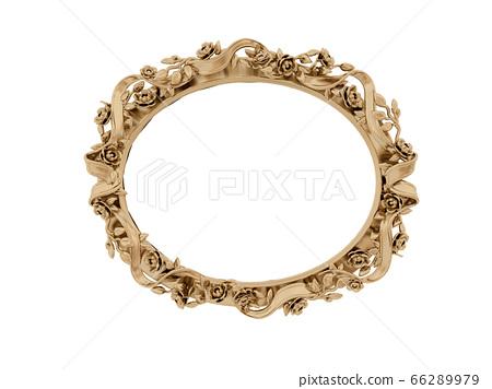 Golden vintage frame, mirror. Design retro element. physical realistic reflection . 3d rendering 66289979