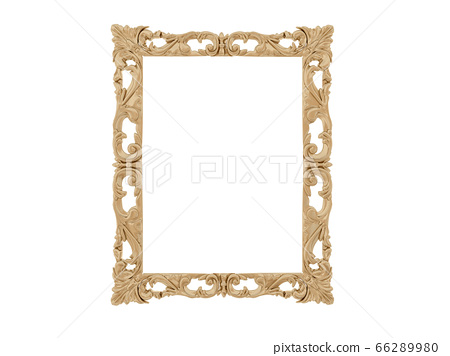Golden vintage frame. Isolate mirror. Design retro element. physical realistic reflection . 66289980