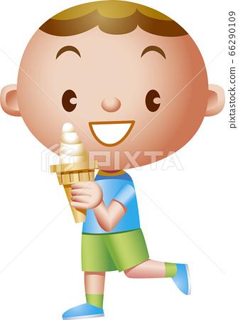 소프트 아이스크림을 가지고 걷는 소년 66290109