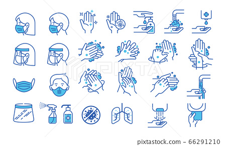 Set of hand washing icons in thin line style. Hygiene icons. The icons as hand wash, soap, alcohol, detergent, anti bacterial and mask. Vector illustrations. 66291210