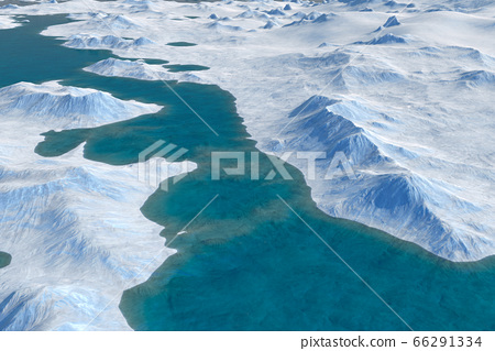 Snow landscape, ice valley with mountains. Arctic view. 3d render 66291334