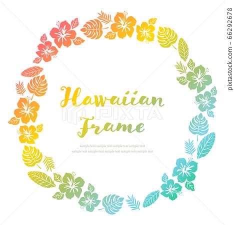 히비스커스와 식물의 하와이 프레임 66292678