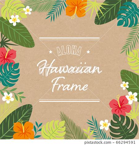 芙蓉和植物的夏威夷框架 66294591