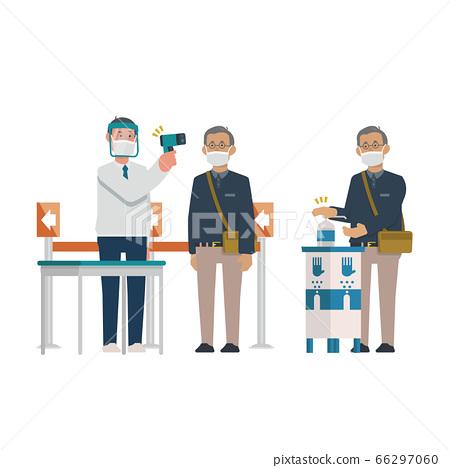 손 소독 · 체온계 남성 [수석 통근 입구 · 시험 · 창구 접수 · 회장 앞 · 영업】 일러스트 66297060