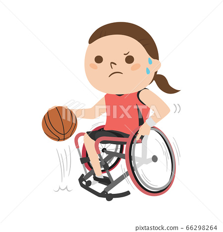 휠체어 농구 선수의 일러스트. 드리블을 젊은 여자. 66298264