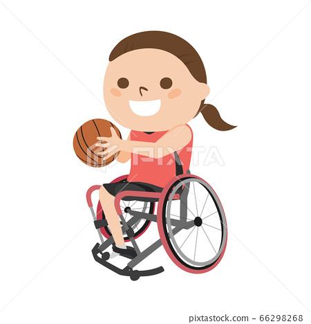 輪椅藍球運動員的例證。.使用與微笑的一個少婦。 66298268