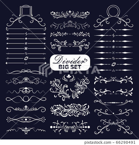 Big set of white decorative flourishes dividers on dark background. Collection ornate page decor elements banners, frames, dividers, ornaments and patterns. Jpeg 66298491