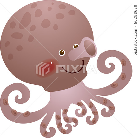 Illustration of an octopus swimming in front 66298629