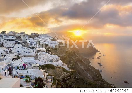 Sunrise view of Santorini island, Greece. Romantic 66299542