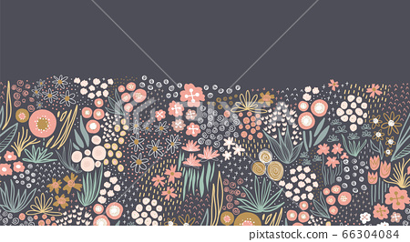 Flower meadow seamless vector border. A lot of florals in pink, gold, white, teal on dark background 66304084