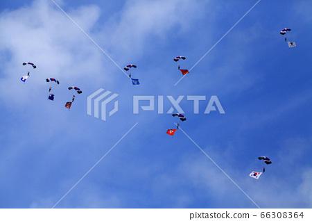 Black eagle,parachute,blue sky,soldier,landscape 66308364