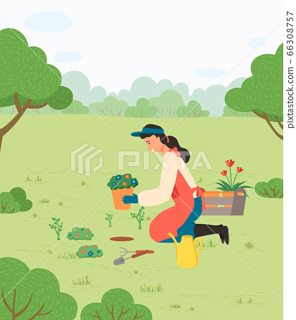 Girl Planting Flowers in Park with Gardening Tools 66308757