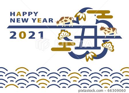 2021 ox year ox logo new year card template 66309060