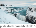 Gullfoss waterfall view in the canyon of the Hvita river during winter snow Iceland 66310015
