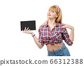 sexy pin up girl with a digital tablet 66312388
