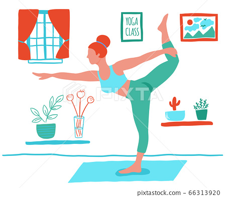 Women exercising yoga at home flat color trend vector. Stay at home yoga meditation practice cartoon style. Exercise workout background. Healthy lifestyle morning fitness activities pictures. 66313920