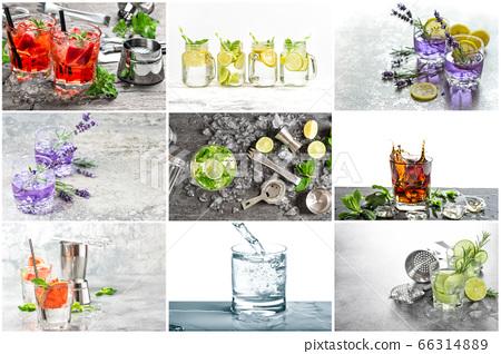 Cold summer lemonade Fresh drink with lemon 66314889
