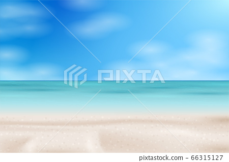Tropical Beach landscape. Sea panorama. Vector background illustration 66315127
