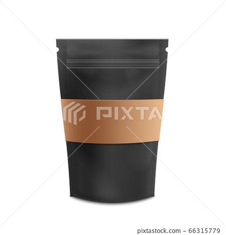 Mockup of standing blank black zip bag with brown paper label realistic style 66315779