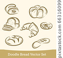 doodle bread set isolated on white background. Vector 66316099