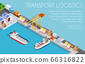 Port cargo ship transport logistics seaport webpage vector template with an isometric illustration 66316822