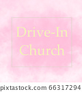 DRIVE-IN CHURCH pink and yellow abstract background 66317294