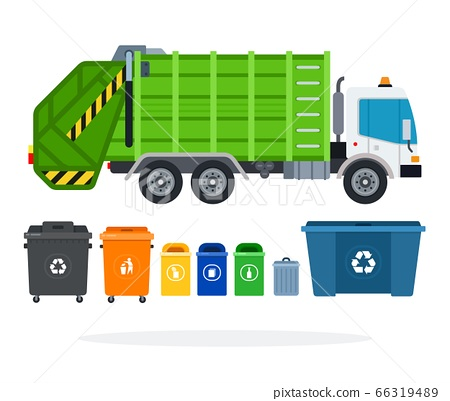 Set of garbage truck and different types of garbage containers, tanks vector icon flat isolated. 66319489