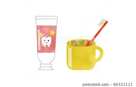 牙膏套裝牙刷,杯子,牙膏的插圖水彩風格 66321111