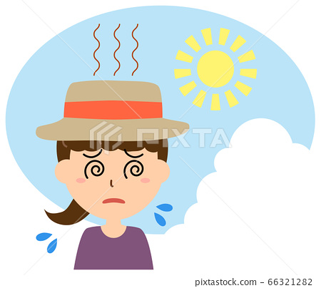 A woman suffering from the heat of the hot sun 66321282