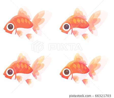 魚(金魚)的可愛插圖(固體漆/紋理) 66321703