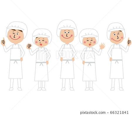 学校午餐人员或食品工厂中的男女排队 66321841