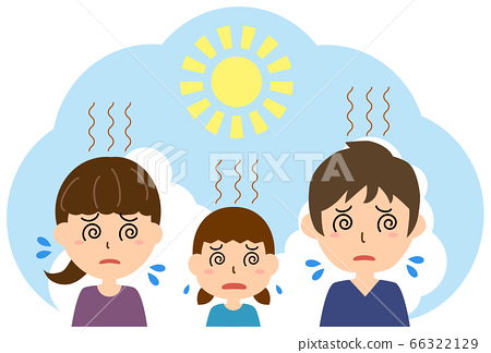 Parents and children suffering from the hot heat 66322129